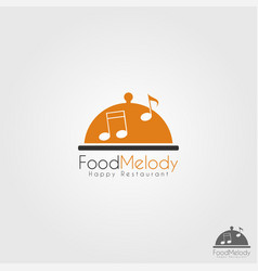 food melody - happy music restaurant logo vector image
