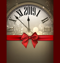 Gold 2019 new year background with clock and red vector