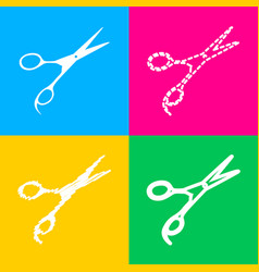 Hair cutting scissors sign four styles of icon on vector