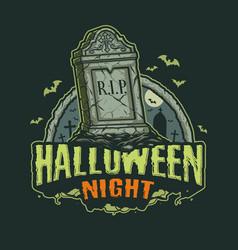 Halloween night vintage print vector