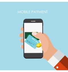 Hand with abstract phone and mobile payment vector