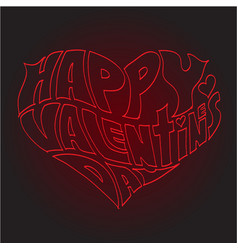 Heart made of text happy valentines day vector