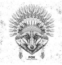 Hipster fox with indian feather headdress vector
