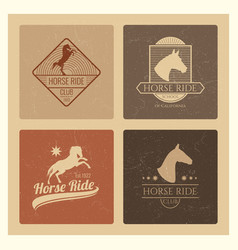 Horse ride club vintage emblem set vector