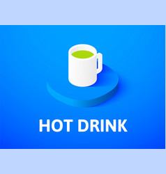 hot drink isometric icon isolated on color vector image