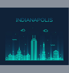 indianapolis skyline indiana usa line city vector image