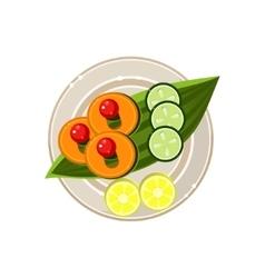 Island food on a palm tree leaf served food vector