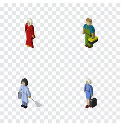 isometric person set of plumber female housemaid vector image