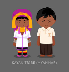 kayan tribe in traditional costume vector image