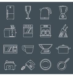Kitchen appliances icons outline vector image