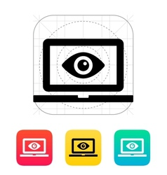 Laptop monitoring icon vector image