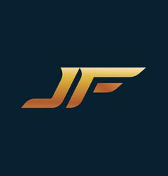 letter jf logo speed design concept template vector image