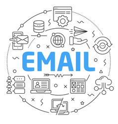 line flat circle email vector image