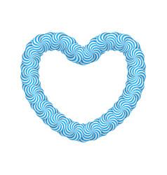 Lollipop blue heart frame vector