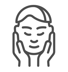 Man face in hands line icon smooth skin after vector