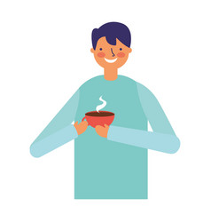 man holding hot coffee cup vector image