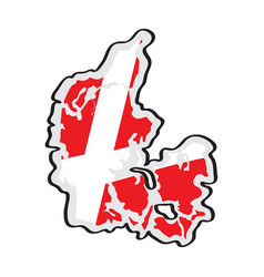 map of denmark with its flag vector image