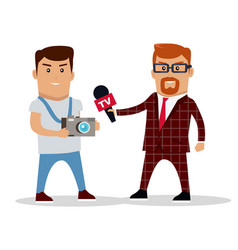 Media workers characters vector