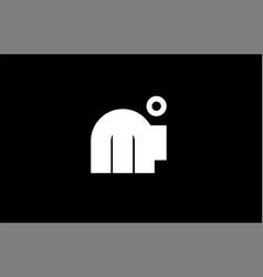 Mi m i black white bold joint letter logo vector
