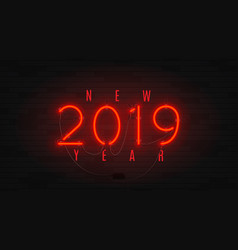 Neon web banner for happy new year 2019 vector