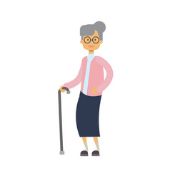 old woman walking with stick full length vector image