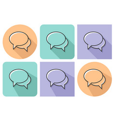 Outlined icon of two blank speech bubbles vector