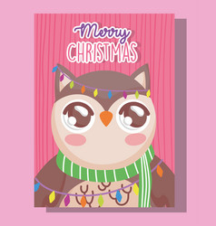 owl with scarf happy merry christmas tag vector image