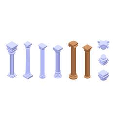 Pillar icons set isometric style vector
