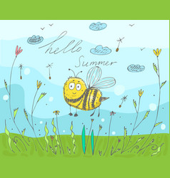 postcard with an inscription hello summer vector image