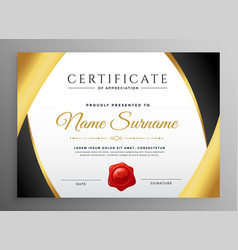 Premium certificate appreciation template vector