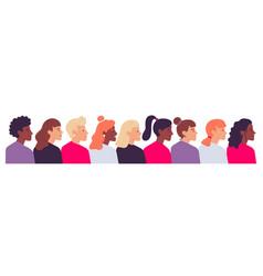 profile women portraits diverse female heads side vector image