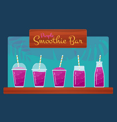 Purple smoothies or fruit cocktail set vector
