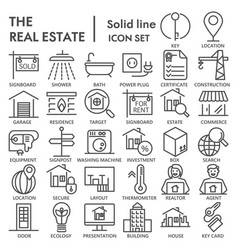 realestate line signed icon set house symbols vector image