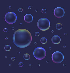 realistic 3d detailed soap bubble on a blue vector image