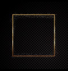 Rectangle sparkle golden frame isolated on black vector