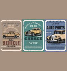 retro car and auto vintage vehicle spare parts vector image