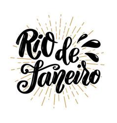 Rio de janeiro hand drawn lettering phrase vector
