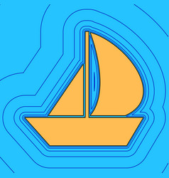 sail boat sign sand color icon with black vector image