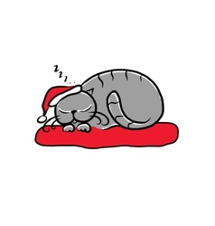 Santa cat sleeping sketch for your design vector