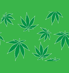 seamless pattern with cannabis leaves green color vector image