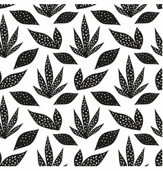 seamless pattern with stylized leaves hand drawing vector image
