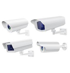 Security camera set white cctv surveillance vector