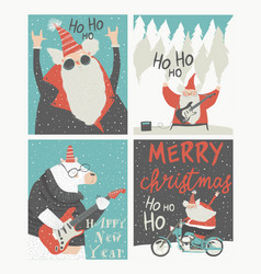set christmas cards with rock n roll santa vector image