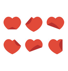 set collection flat design red hearts stickers vector image