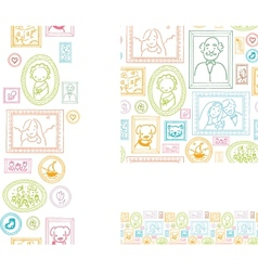 set framed pictures seamless pattern and vector image