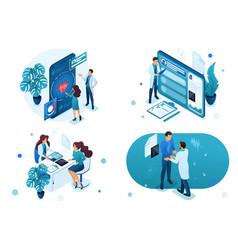 Set isometric concepts digital health vector