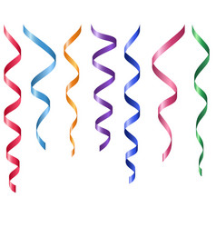 Set of decorative serpentines colorful ribbons vector
