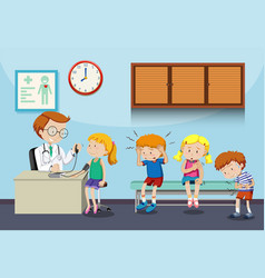 Sick children wait to see doctor vector