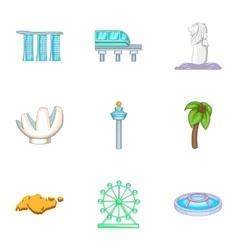 Singapore symbols icons set cartoon style vector