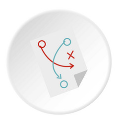 Soccer tactic paper icon circle vector